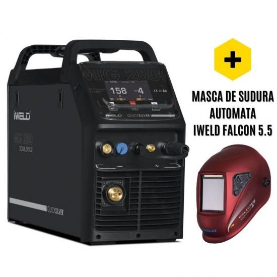 IWELD MIG 2800 Double Pulse, 250A, 380V, accesorii incluse + Masca Falcon 5.5