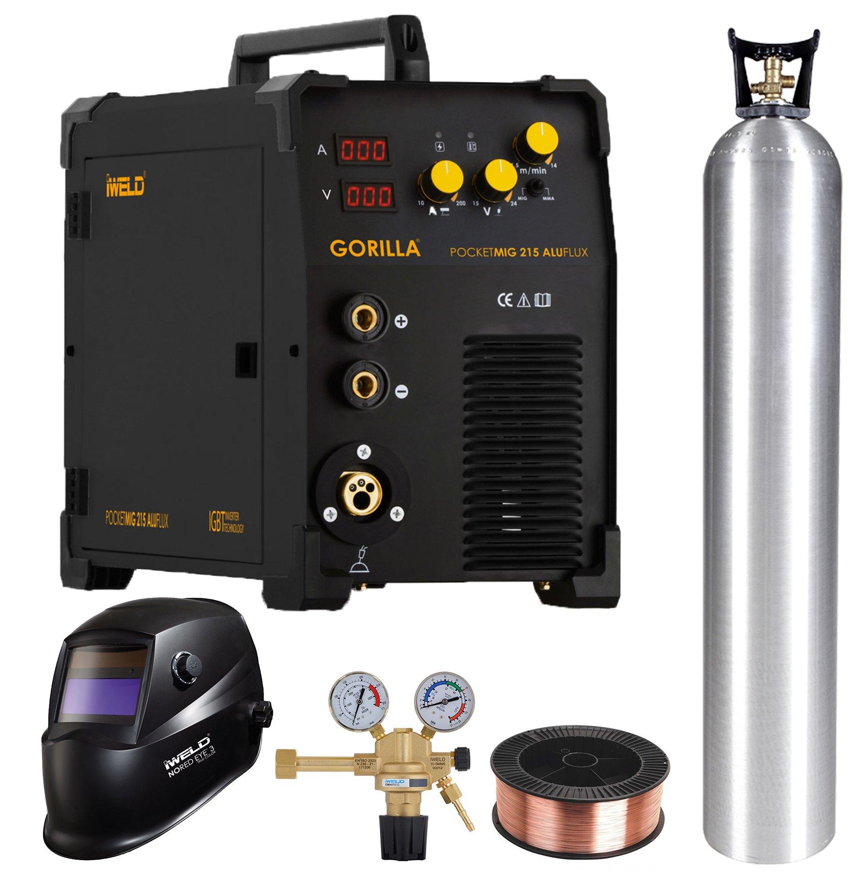 IWELD POCKETMIG 215 ALUFLUX+Butelie 20L+Reductor CO2/AR+Masca de sudura automata